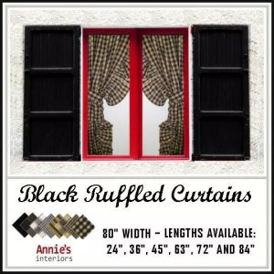 ruffled curtains black fabrics homespun