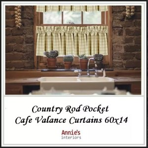 Country Rod Pocket Cafe Valance Curtains 60x14