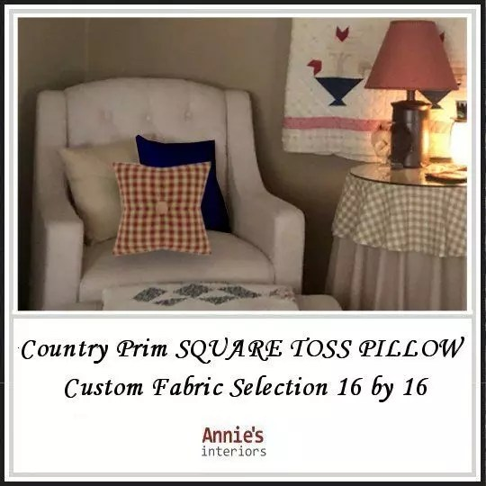 Country-Prim-SQUARE-TOSS-PILLOW-2-Custom-Fabric-Selection-16-by-16