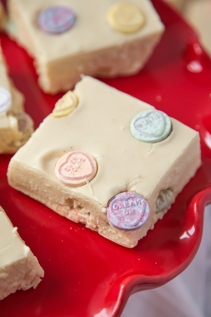 This Love Heart Fudge is velvety smooth, sweet, creamy and filled with lots of fizzy Love Heart sweets.
