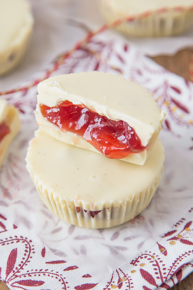 These two Ingredient Raspberry and White Chocolate Cups are ridiculously easy to make and delicious. The best part? They're no bake!