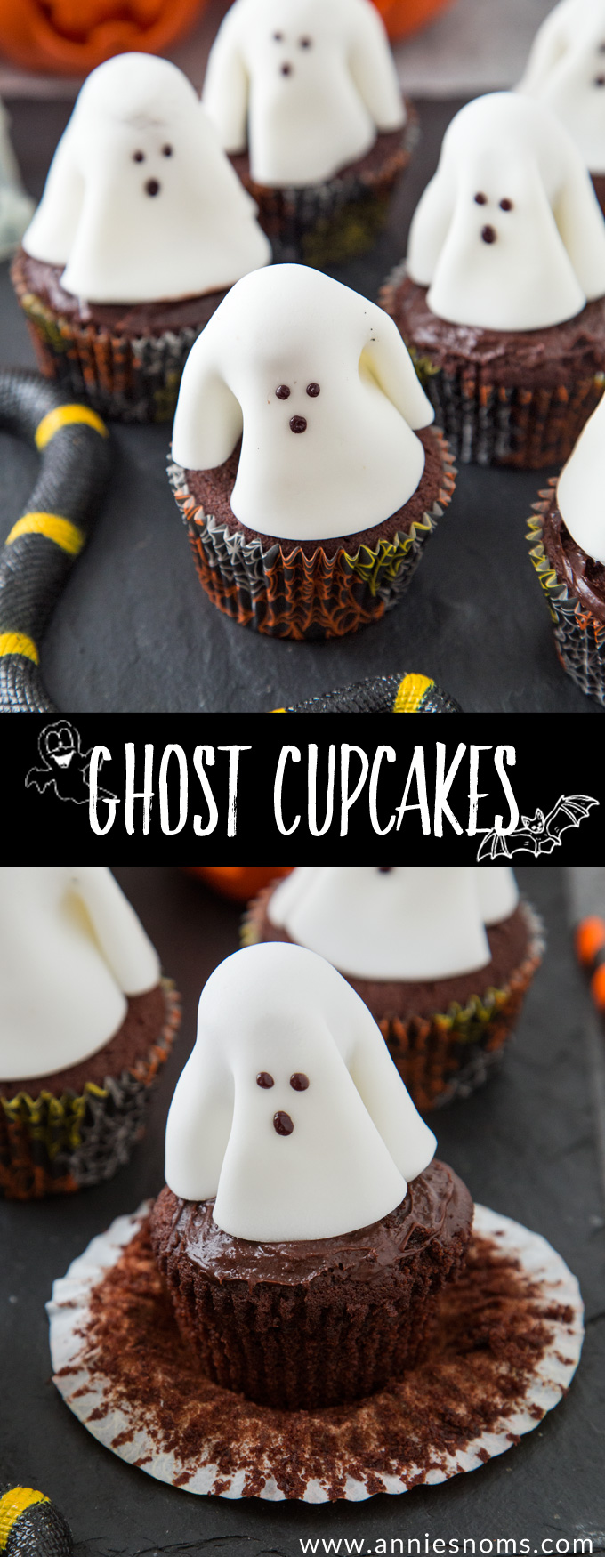 A chocolate frosted cupcake with a fondant ghost atop it; these Ghost Cupcakes are treats that adults and kids alike will love!