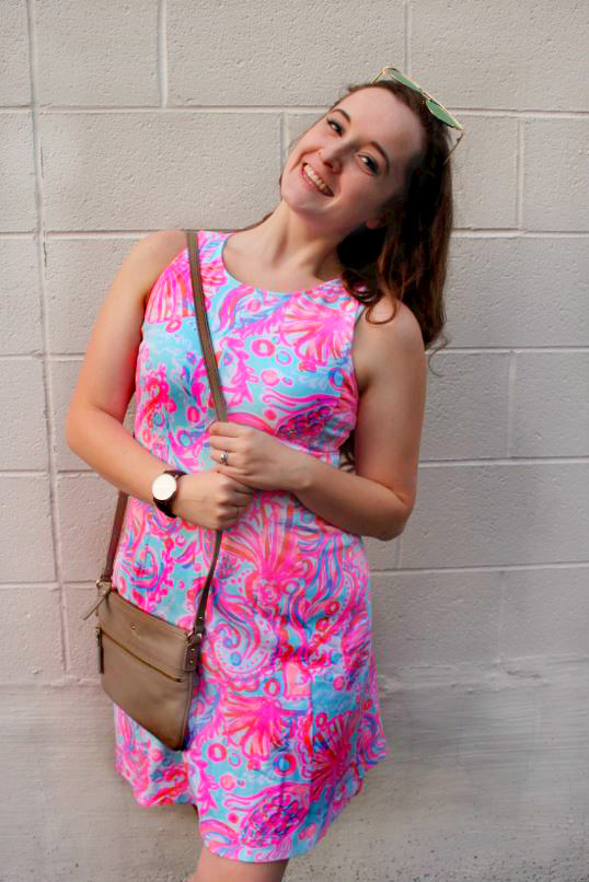 Lilly Pulitzer Dress Kate Spade Bag in Birmingham Michigan Worn by Annie Fairfax