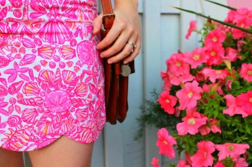 Pink Sailor's Valentine Lilly Pulitzer Scallop Skirt and Dooney and Bourke Purse Worn by Annie Fairfax