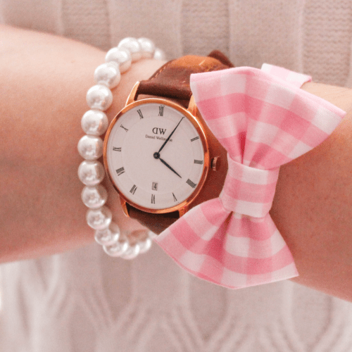 Daniel Wellington Watch and heart Charm Pearl Bracelet Gingham Bow Bracelet Ivory Bell Sleeve Sweater