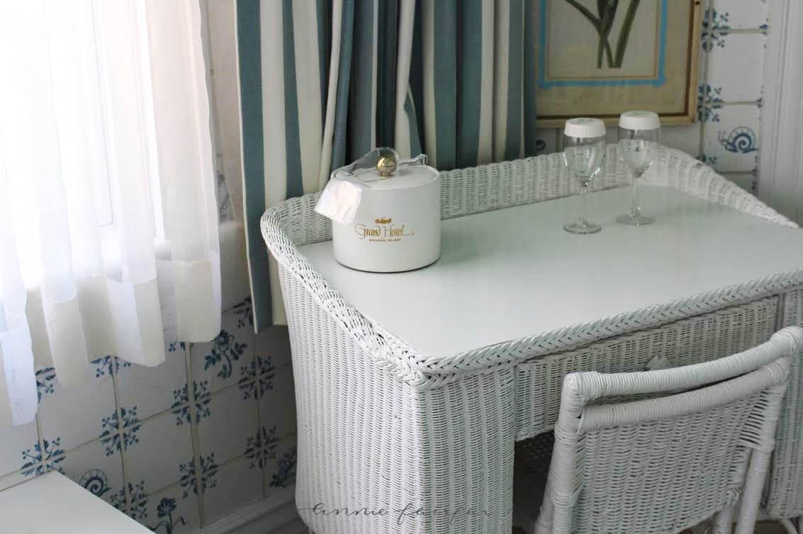 Wicker Suite at Grand Hotel on Mackinac Island Michigan by Annie Fairfax Blue and White Delft Island Decor Luxury Resort