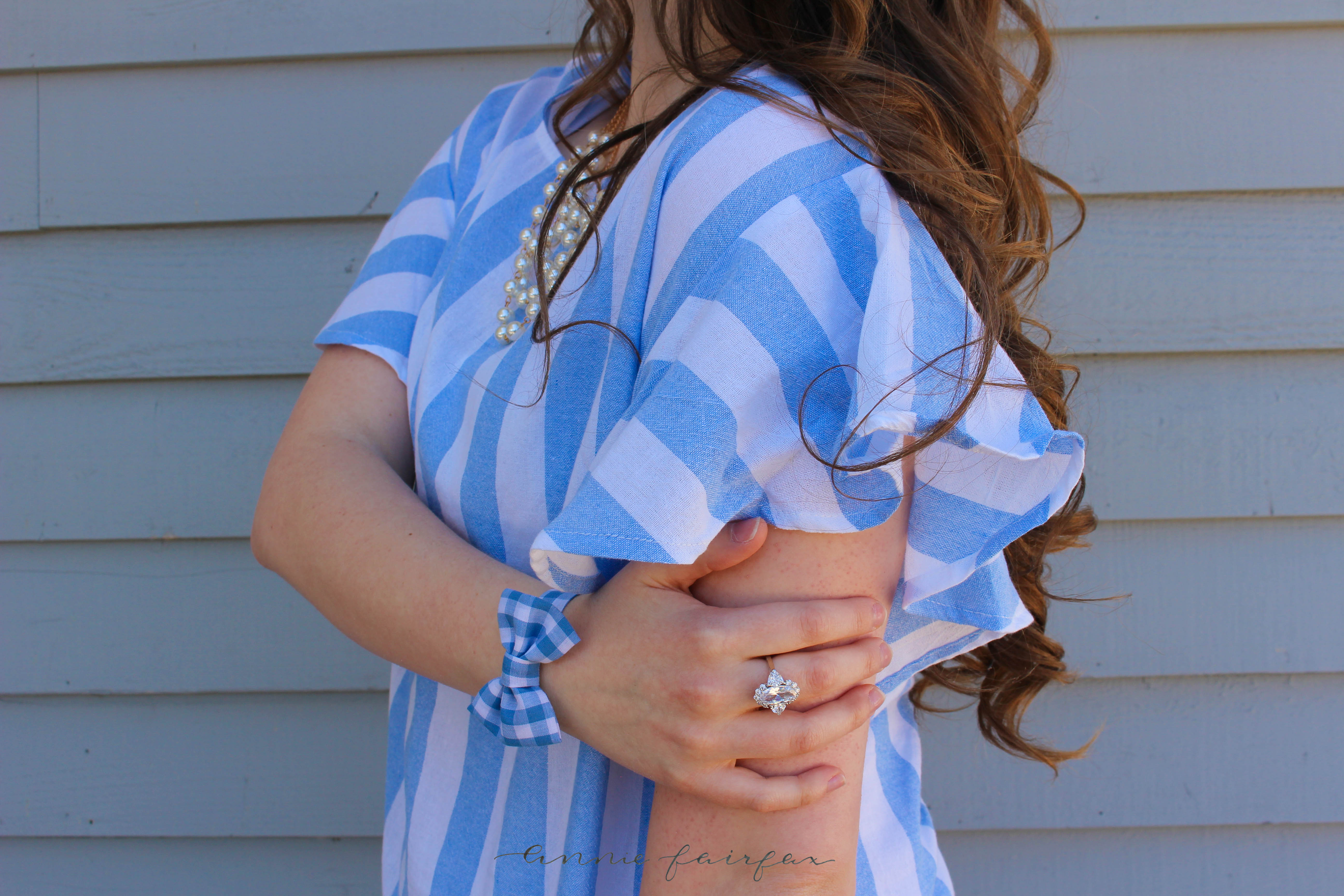Blue Striped Nautical Top with Ruffle Sleeves by Annie Fairfax on AnnieWearsIt.Com