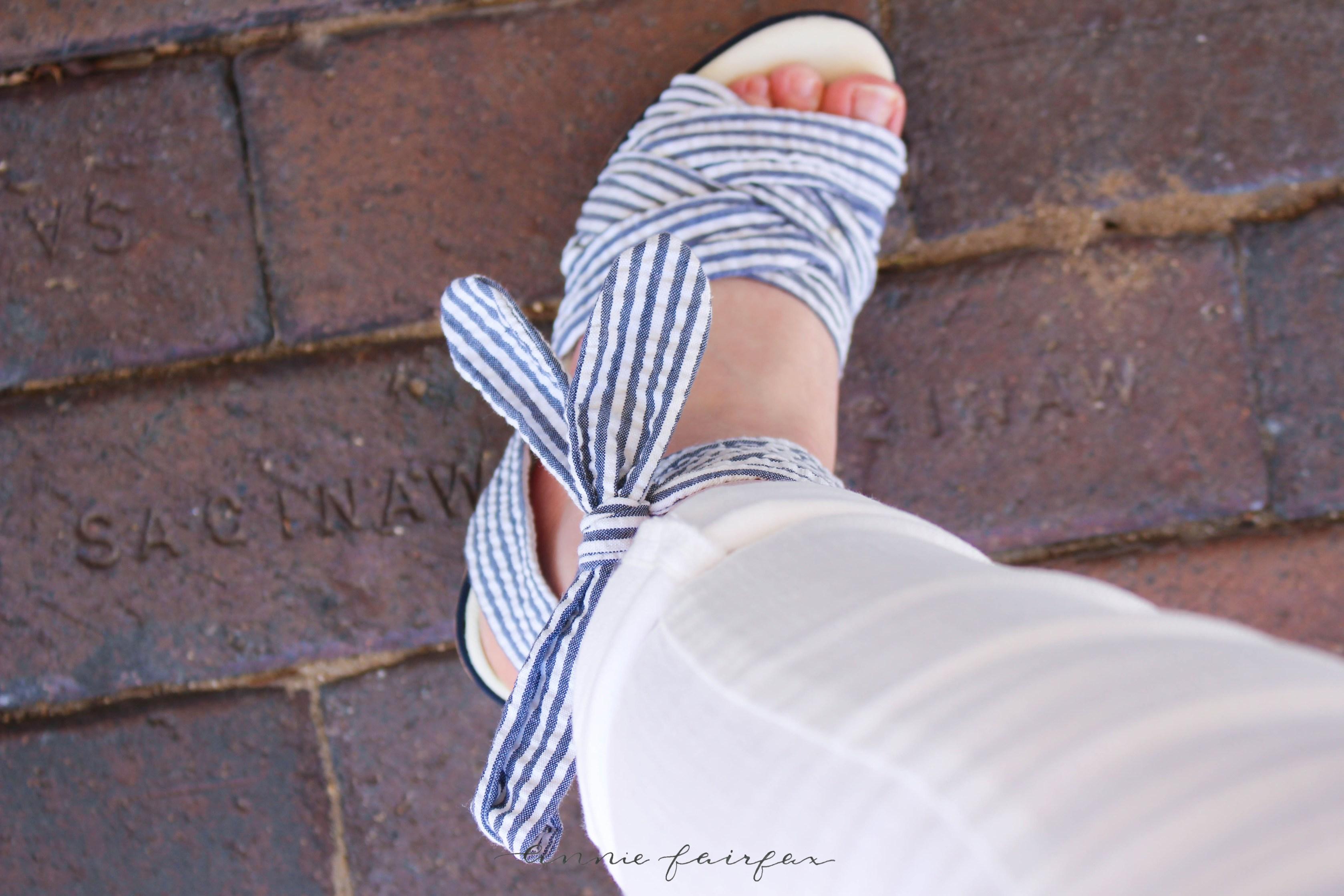 Blue Striped Nautical Top with Ruffle Sleeves by Annie Fairfax on AnnieWearsIt.Com