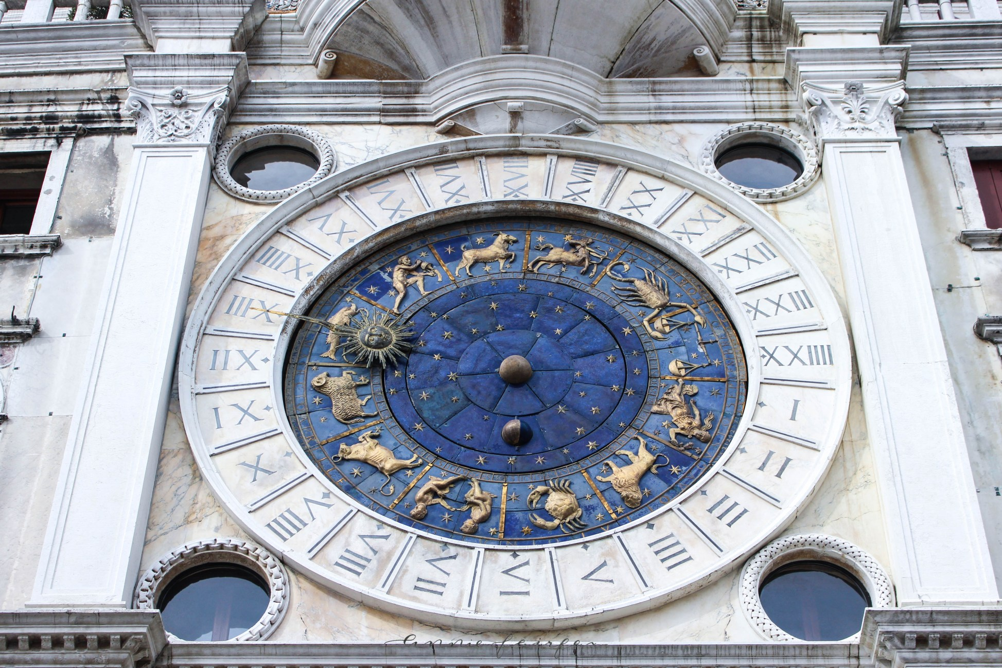 Lapis Lazuli Zodiac Clock Saint Mark's Basilica Venice Italy Catholic Church Oppulent Gold