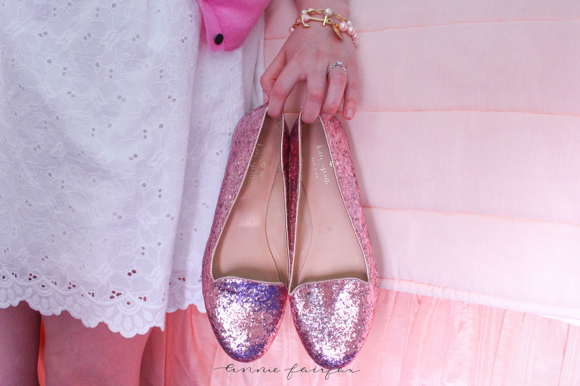 Pink and White Lilly Pulitzer Kiel James Patrick Grand Hotel Kate Spade Glitter Shoes
