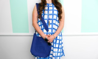 Blue Painted MudPie Dress Hermes Bag Kendra Scott Necklace