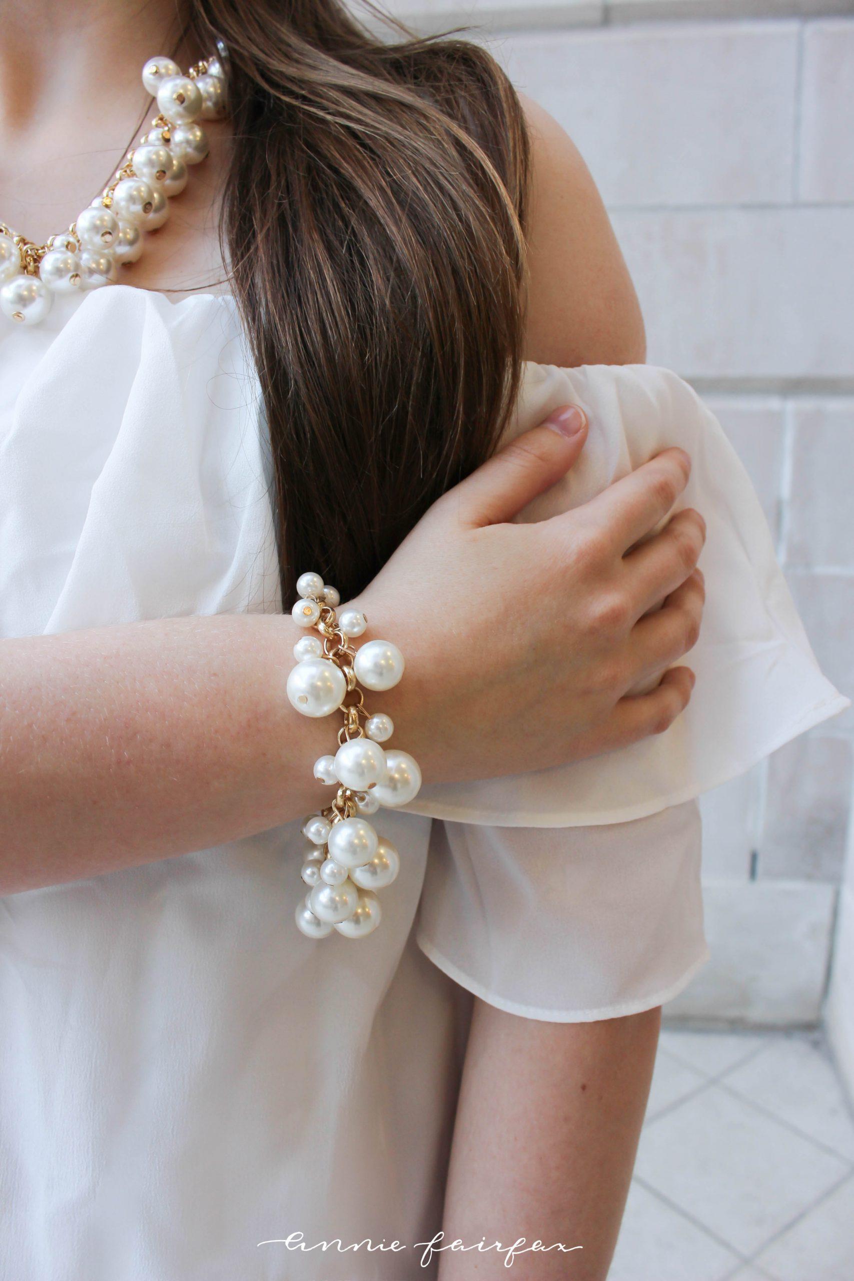 Romantic Off Shoulder Dress Coach Leather Bag by Annie Fairfax
