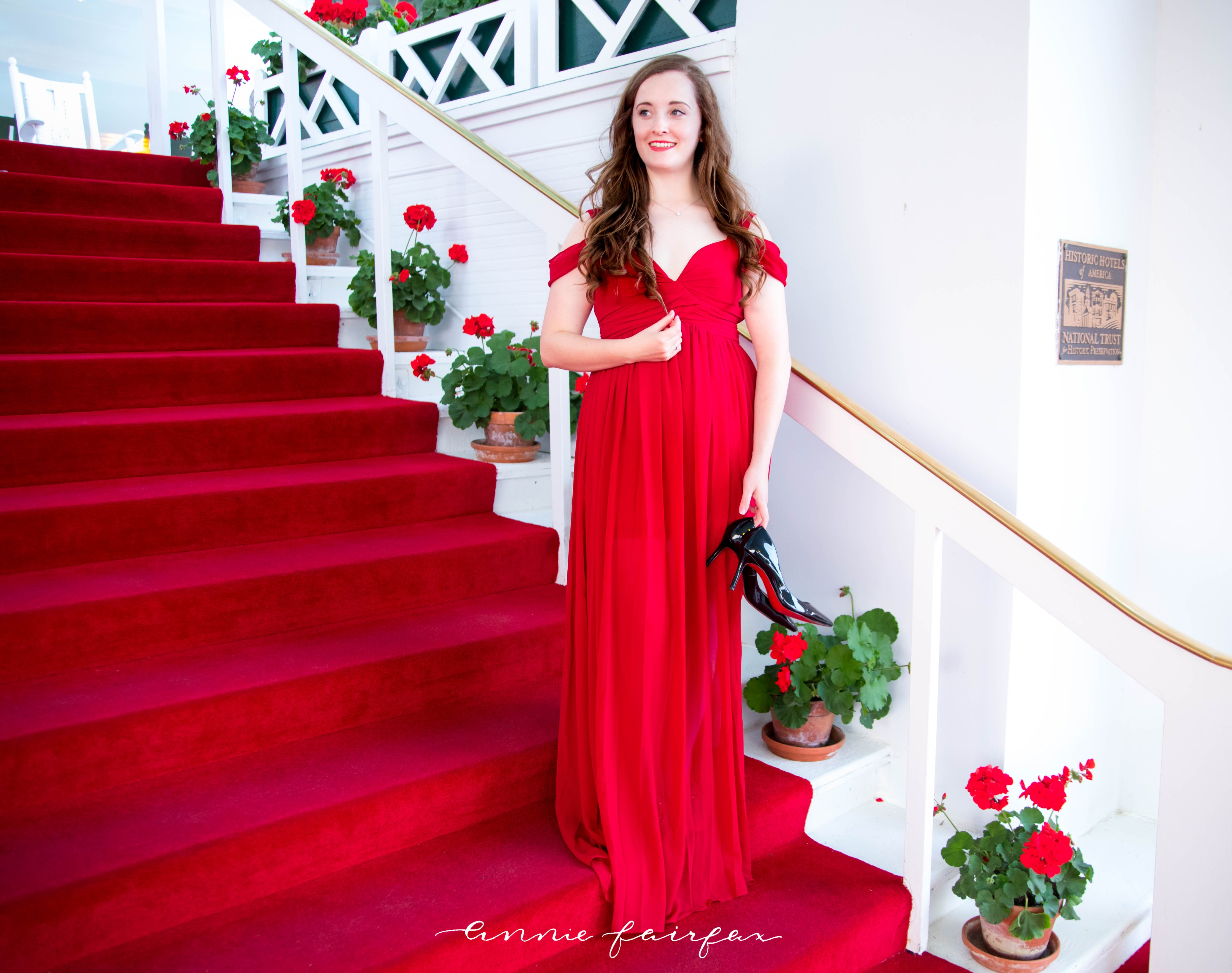 Grand Hotel Mackinac Island Michigan Dress Code What to Wear to Dinner Christian Louboutin Romwe Shein Red Soles Red Carpet Geraniums Red