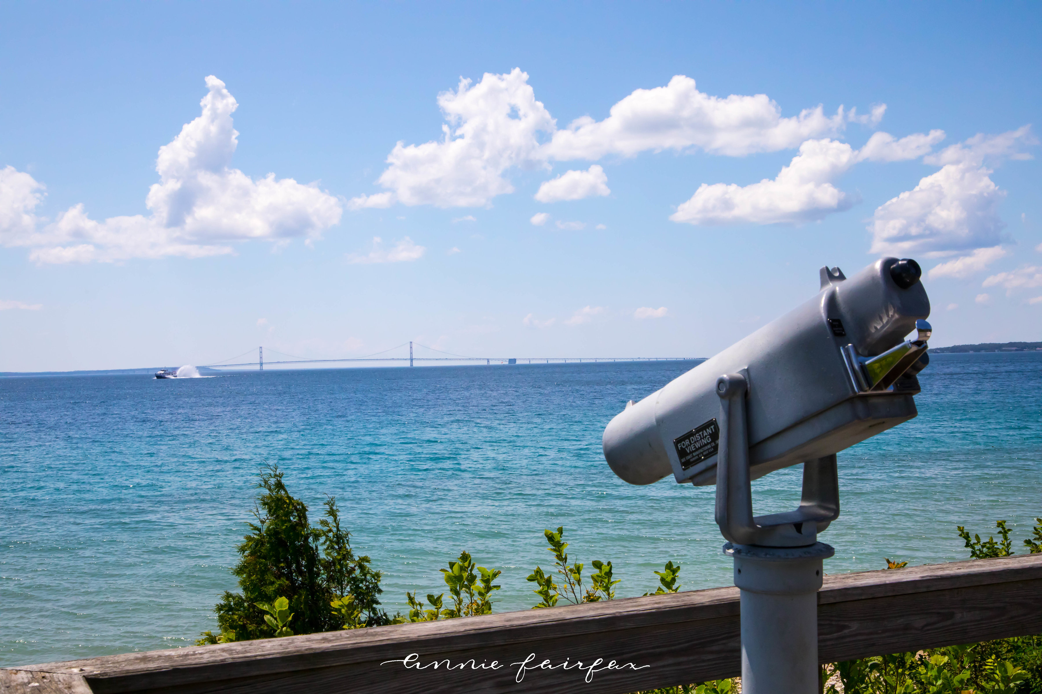 View of the Mackinac Bridge on Mackinac Island, MI