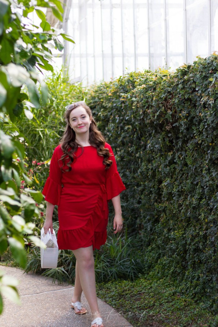 Red Wrap Dress with Ruffles