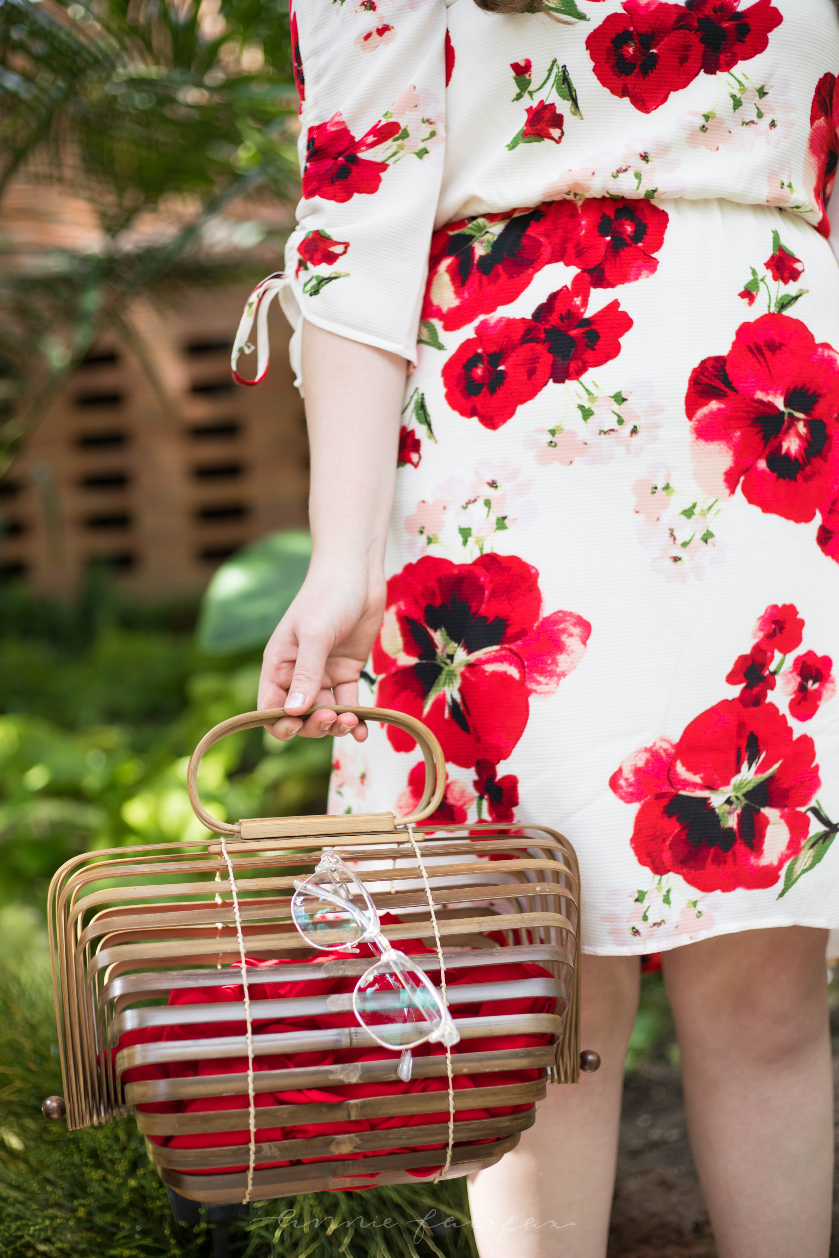 Bobeau Ember Ruch Sleeve Red Floral Print Dress Vintage Japanese Picnic Basket Palm Beach Sandals