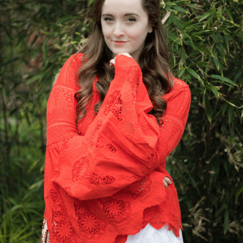 Red Bell Sleeve Free People Blouse