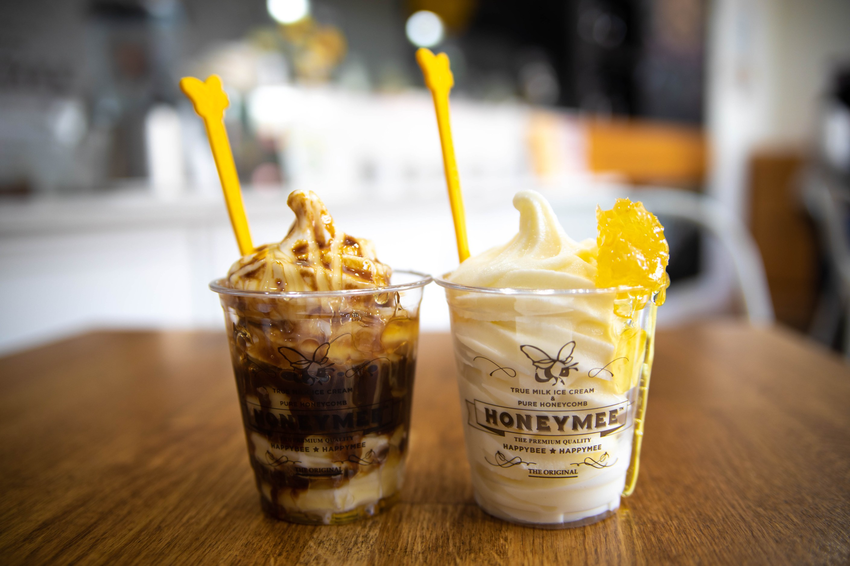 The Honeymee and Honey Affogato from Honey Affogato from Honeymee Los Angeles Milk and Honeycomb Luxury Ice Cream