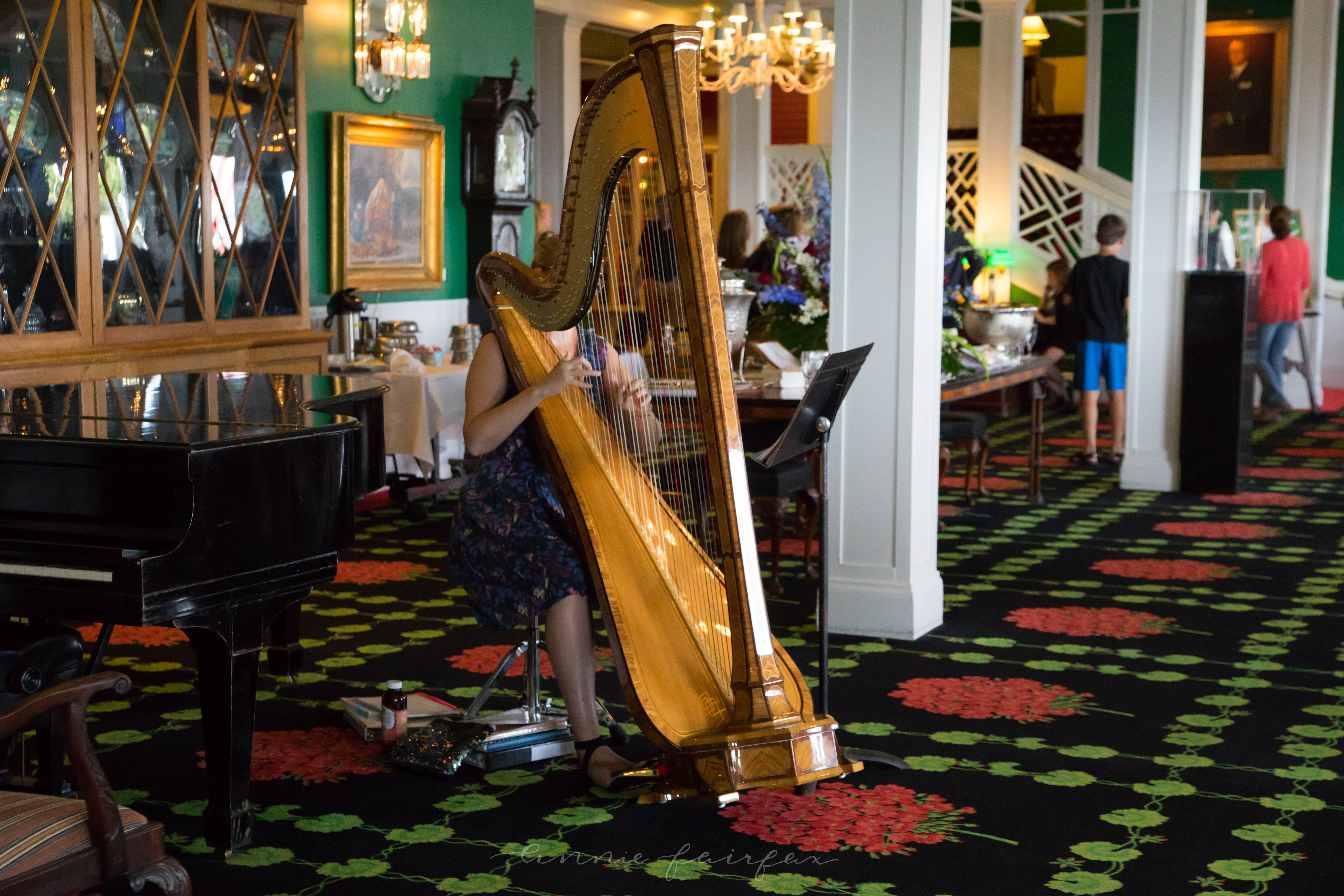 Afternoon Tea at Grand Hotel on Mackinac Fine Dining in Northern Michigan Written and Photographed by Annie Fairfax Grand Hotel Harpist Mackinac Island Michigan Afternoon Tea