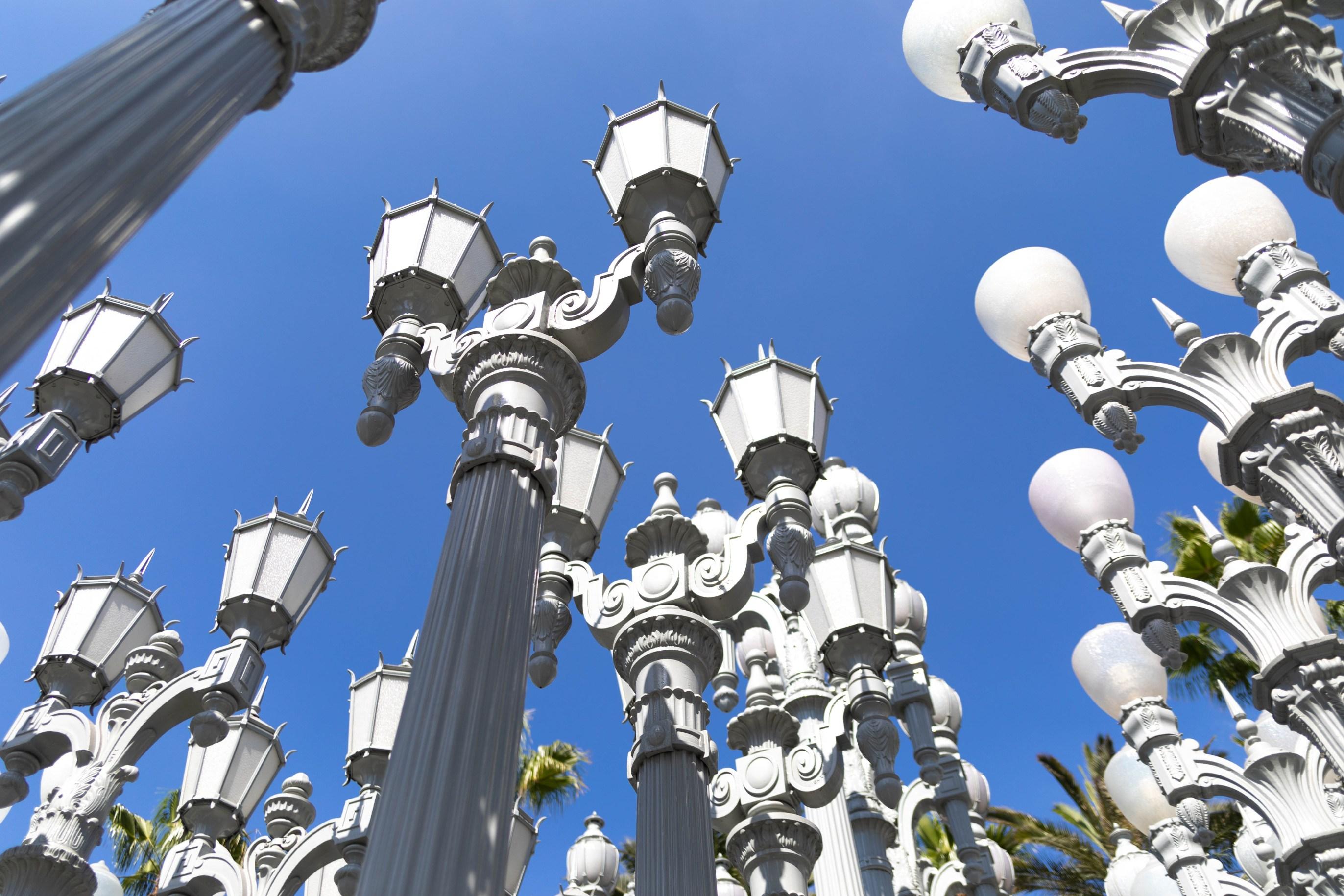 LACMA Los Angeles County Museum of Art Urban Light Light Post Installation by Chris Burden