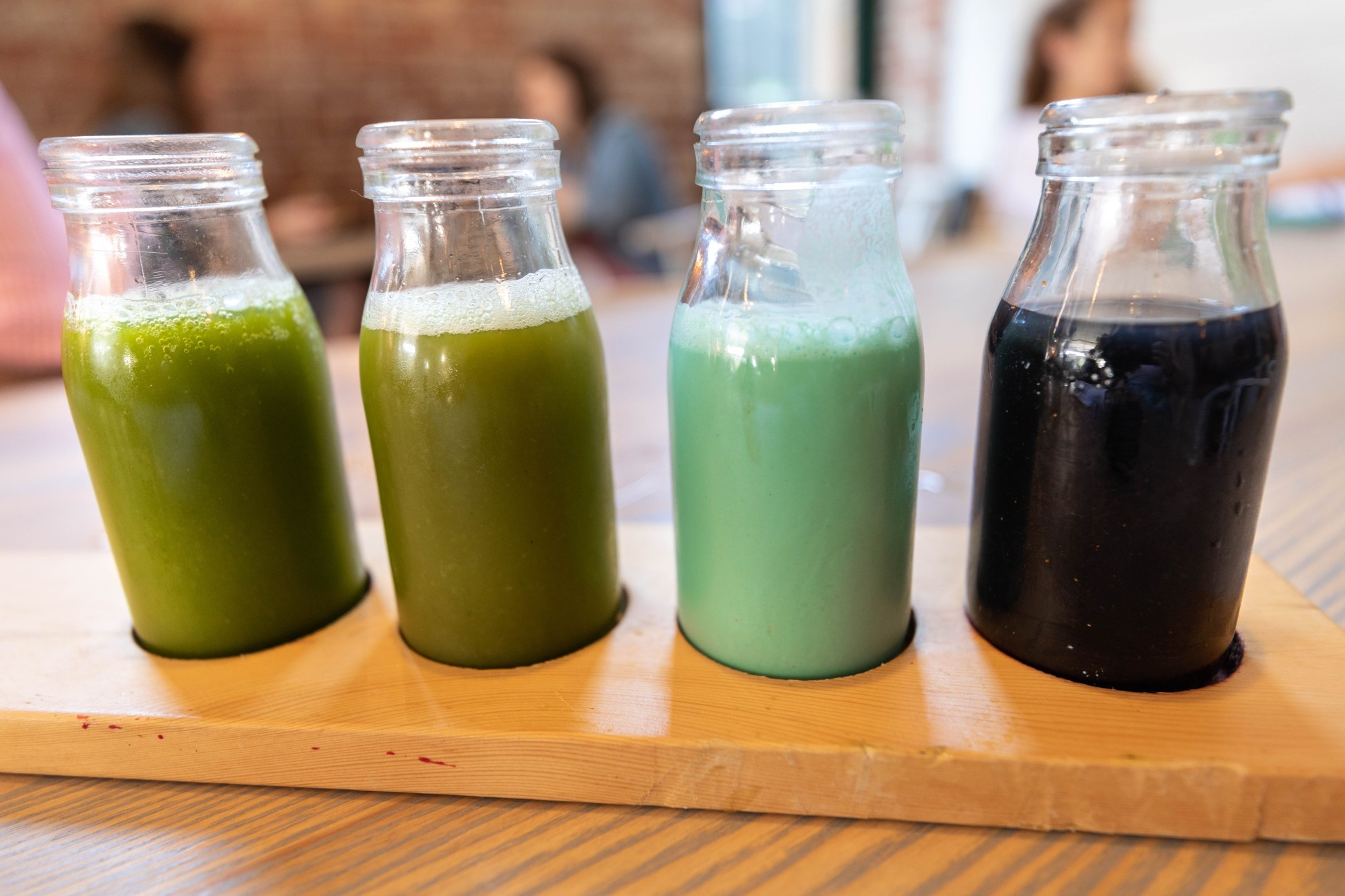 Fresh Pressed Organic Juice Flight at Garden Table Farm-Table Transparent Plant Based Dining in Indianapolis Luxury Restaurants of the World