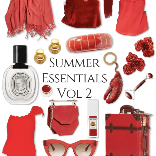 Red Summer Essentials Vol 2 by Annie Fairfax Steamline Luggage Gucci Straw Hats Diptyque Perfume Mary Frances Handbags Velvet Top Romantic Red Outfit Cruelty Free Beauty Products