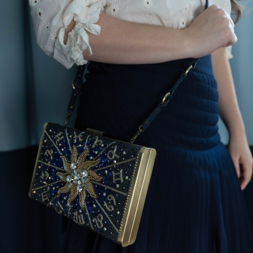 Gorgeous Celestial Handbeaded Handbag Navy Pleated Skirt Japanese inspired outfit OOTD