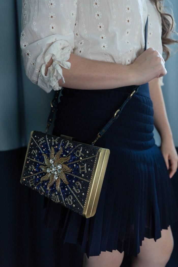 Navy & White Starstruck Outfit with Celestial Zodiac Handbag
