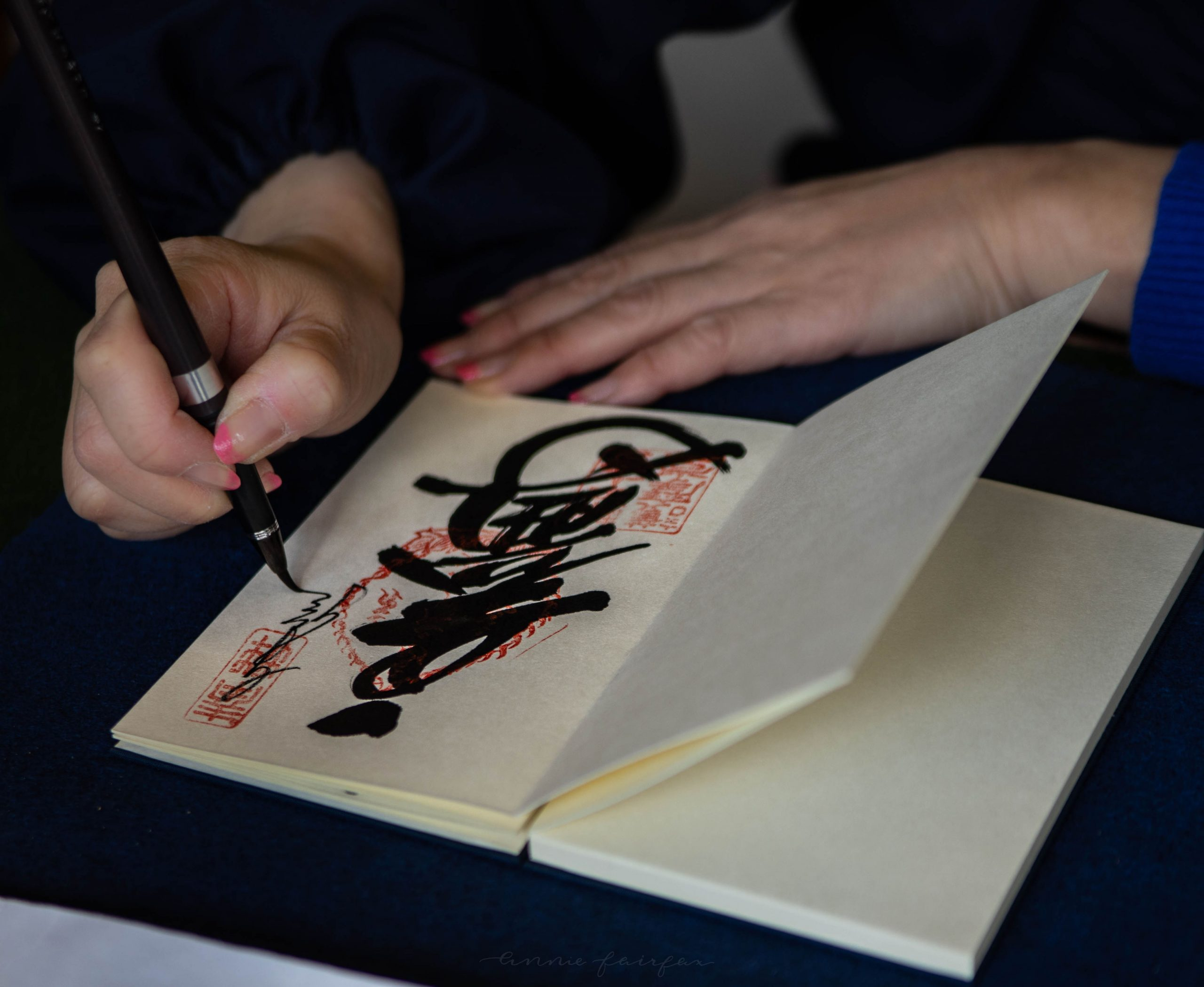 Goshuincho Calligraphy Japanese Shinto Shrine Pilgrimage Stamp Book Photographed by Annie Fairfax