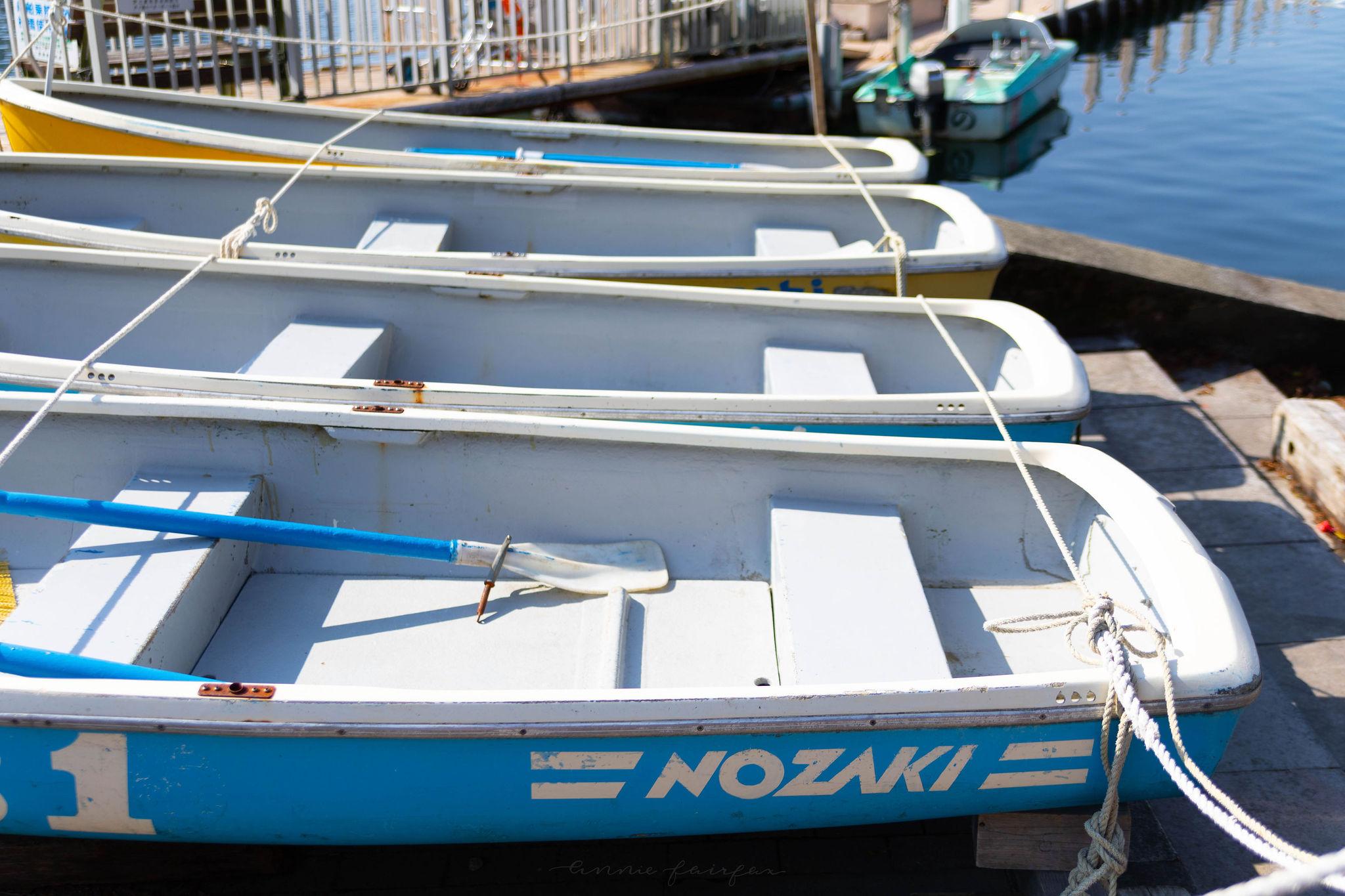 Rowboats on Lake Ashi in Hakone Japan