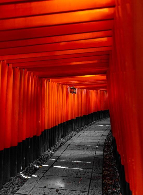 Fushimi Inari Taisha Shrine Thousands of Red Torii Gates in Kyoto Japan