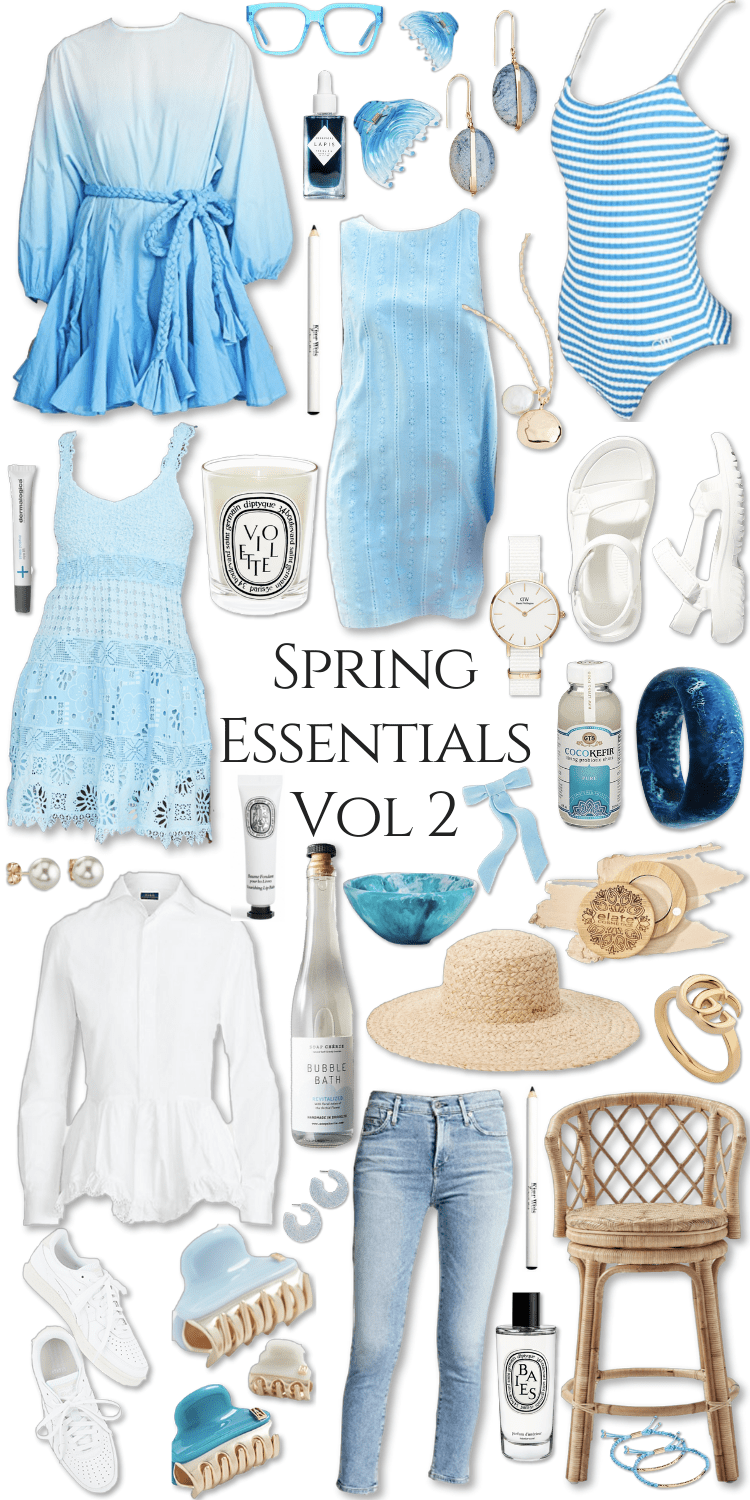 Spring Essentials Volume 2 What to Wear Spring Trends Fashion Clean Beauty Spring Makeover Blue Dresses White Blouse Vacation Spring Break Outfit Inspo by Annie Fairfax