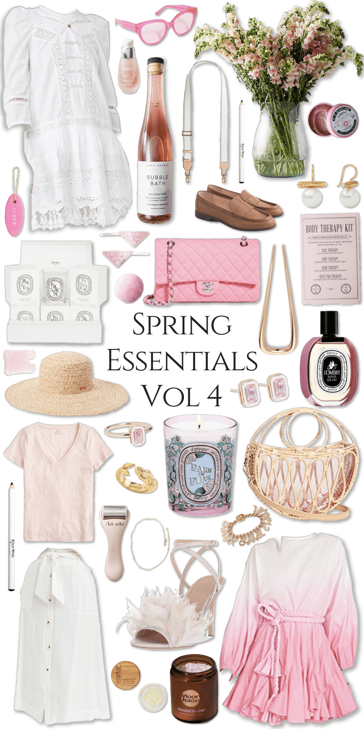 Spring Essentials Volume 4 What to Wear Spring Trends Fashion Clean Beauty Spring Makeover Pink Outfits Gingham, Chanel, Barbour, KJP, J. Crew, Prada and More by Annie Fairfax