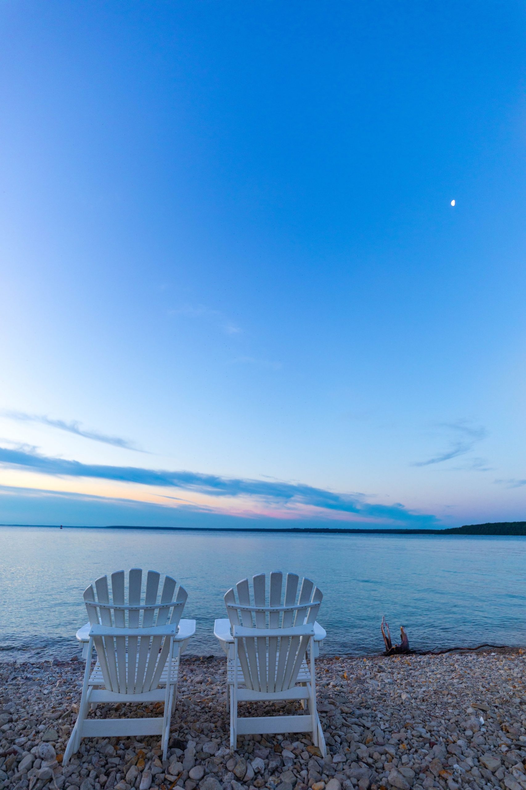 5:14 am Sunrise Over Lake Huron Adirondack Chairs on the Great Lawn Beach View at Mission Point Resort by @AnnieFairfax
