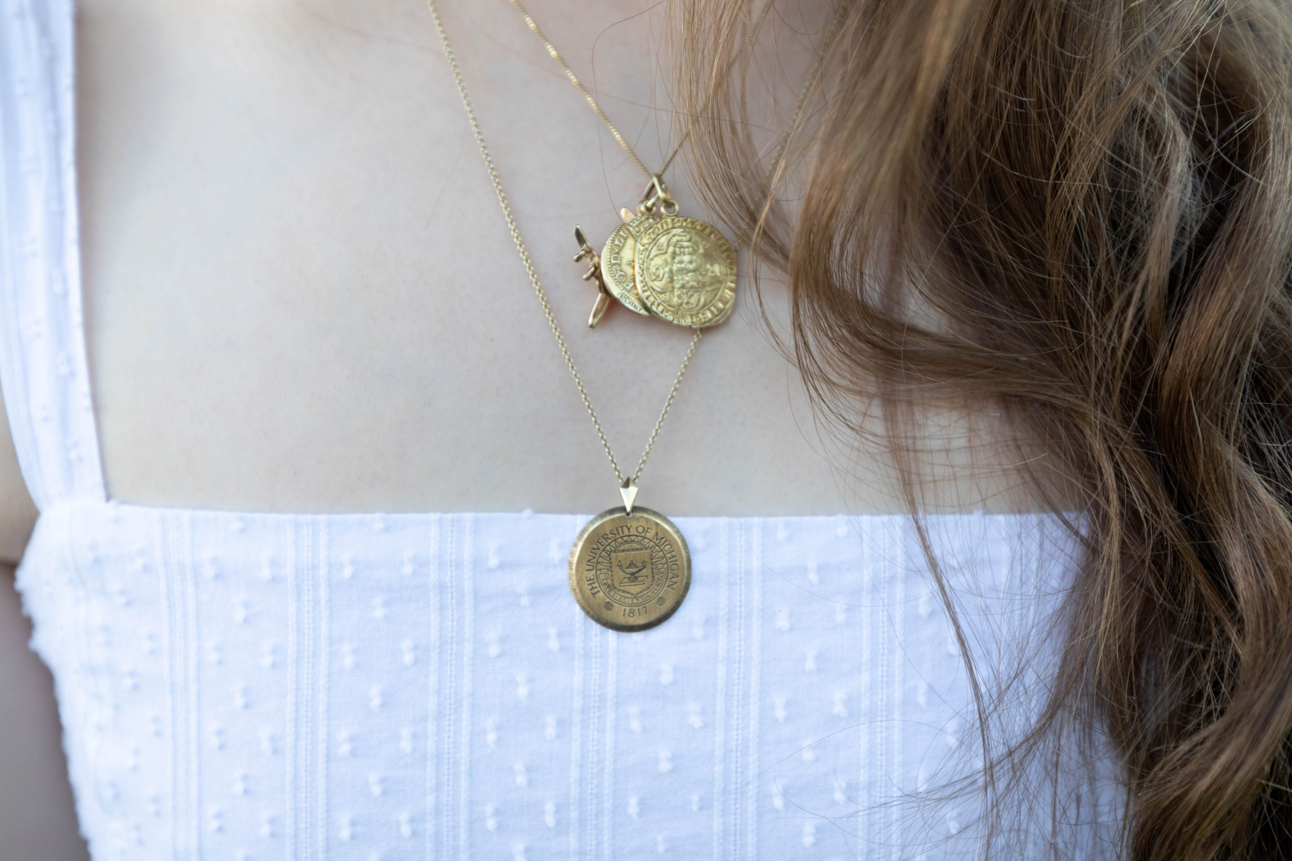 A Breezy White Swiss Dot Duffield Lane Maxi Dress Gold Coin Necklaces by Annie Fairfax
