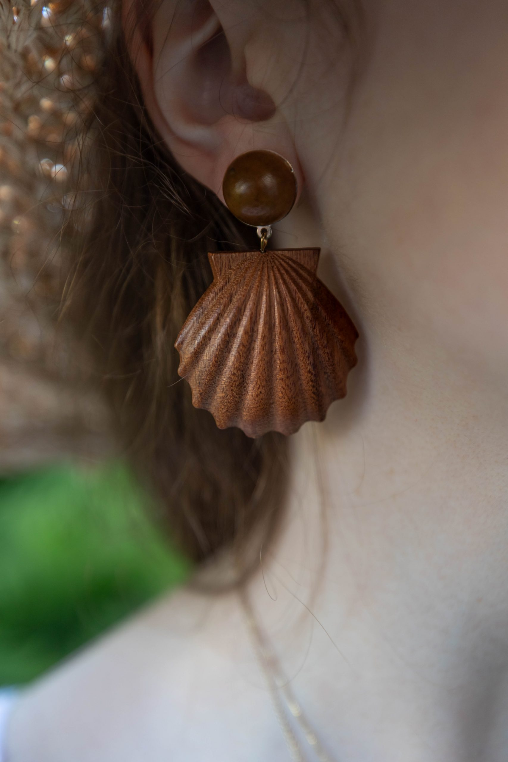 Wooden Shell Earring by Annie Fairfax
