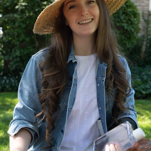 Denim Jacket from Everlane and Kiel James Patrick Eyelet Shift Dress with Sunhat and Strawbag