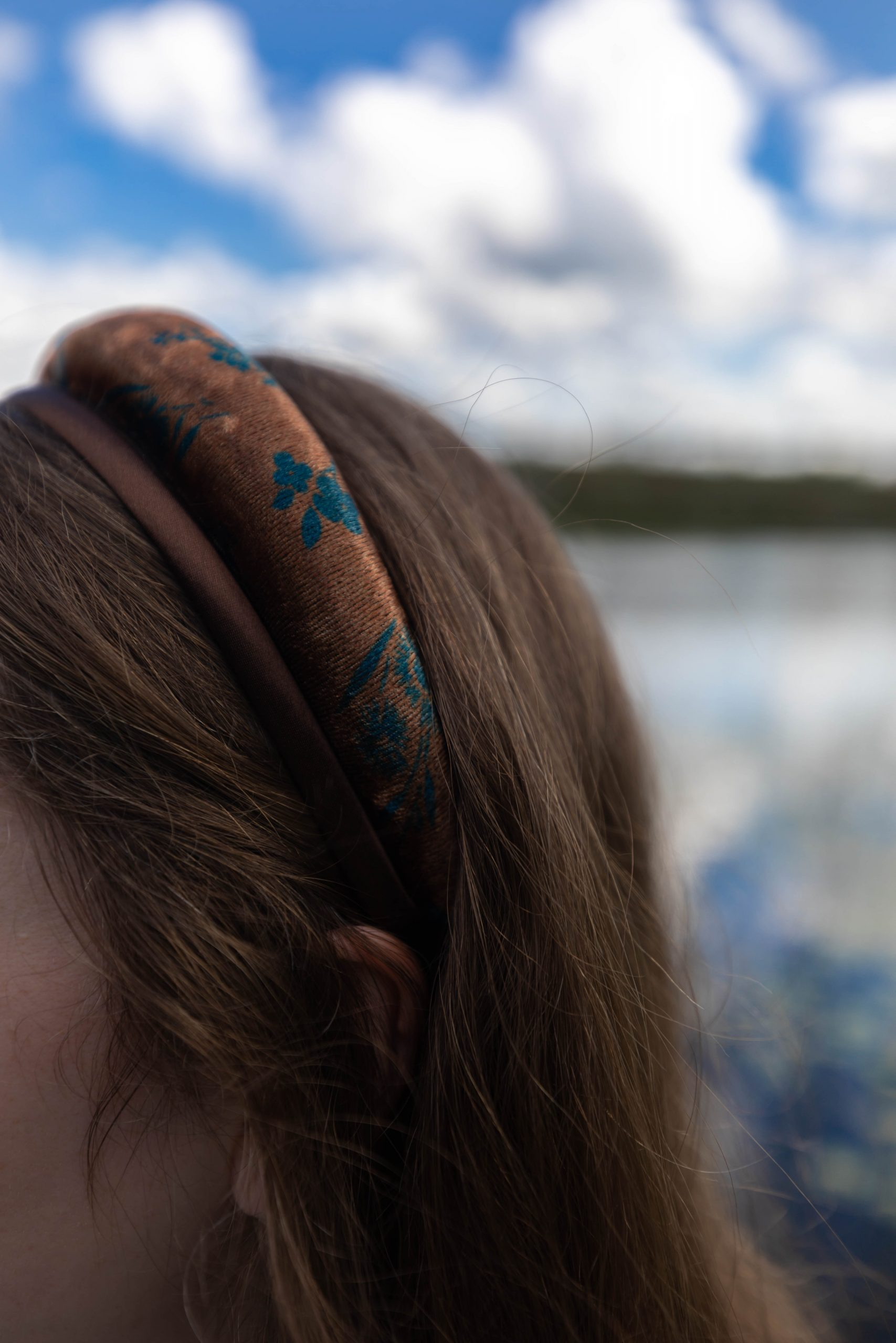 Padded Brown Fall Headband Stacked with Solid Brown Skinny Headband for Fall by Annie Fairfax