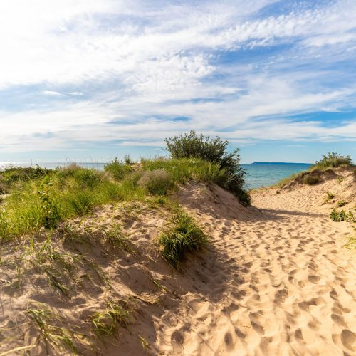 Hiking Sand Dunes at Sleeping Bear Dunes National Lakeshore