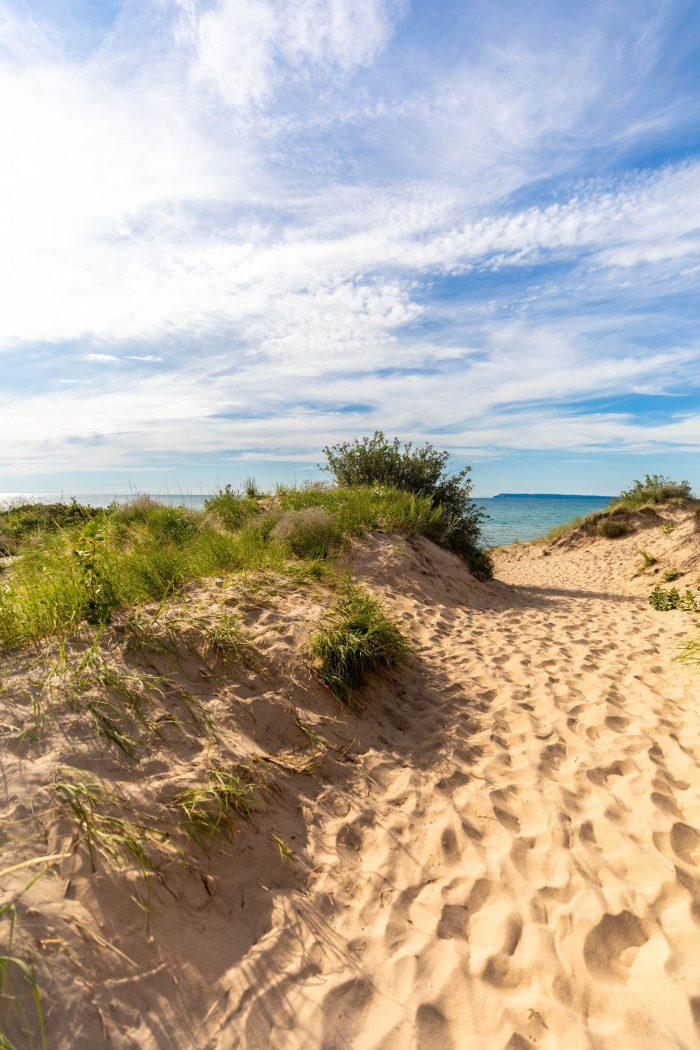 Hiking Sand Dunes at Sleeping Bear Dunes National Lakeshore