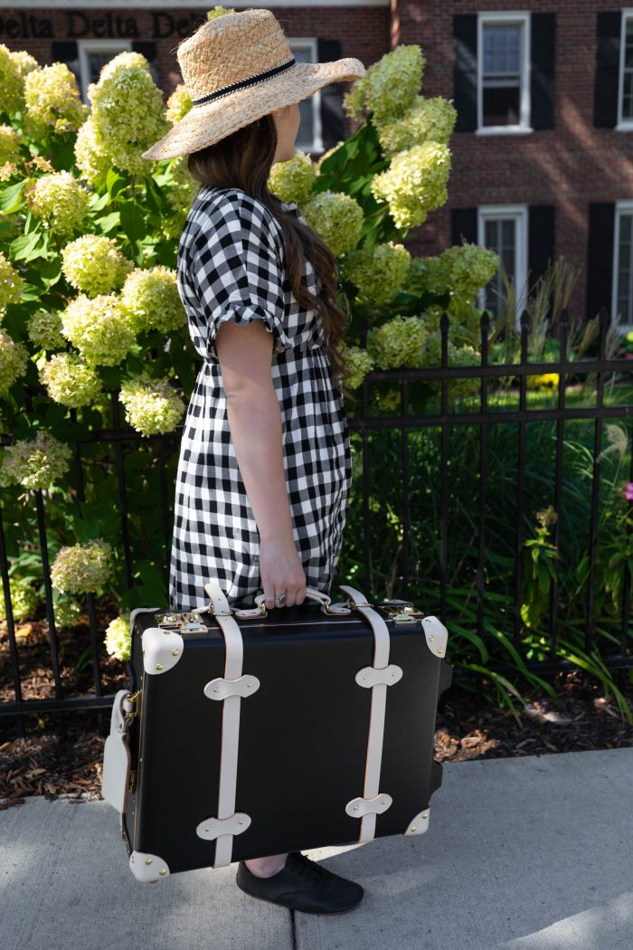 Style and Travel Outfit Inspiration by Annie Fairfax Steamline Luggage Straw Hat Gingham Dress