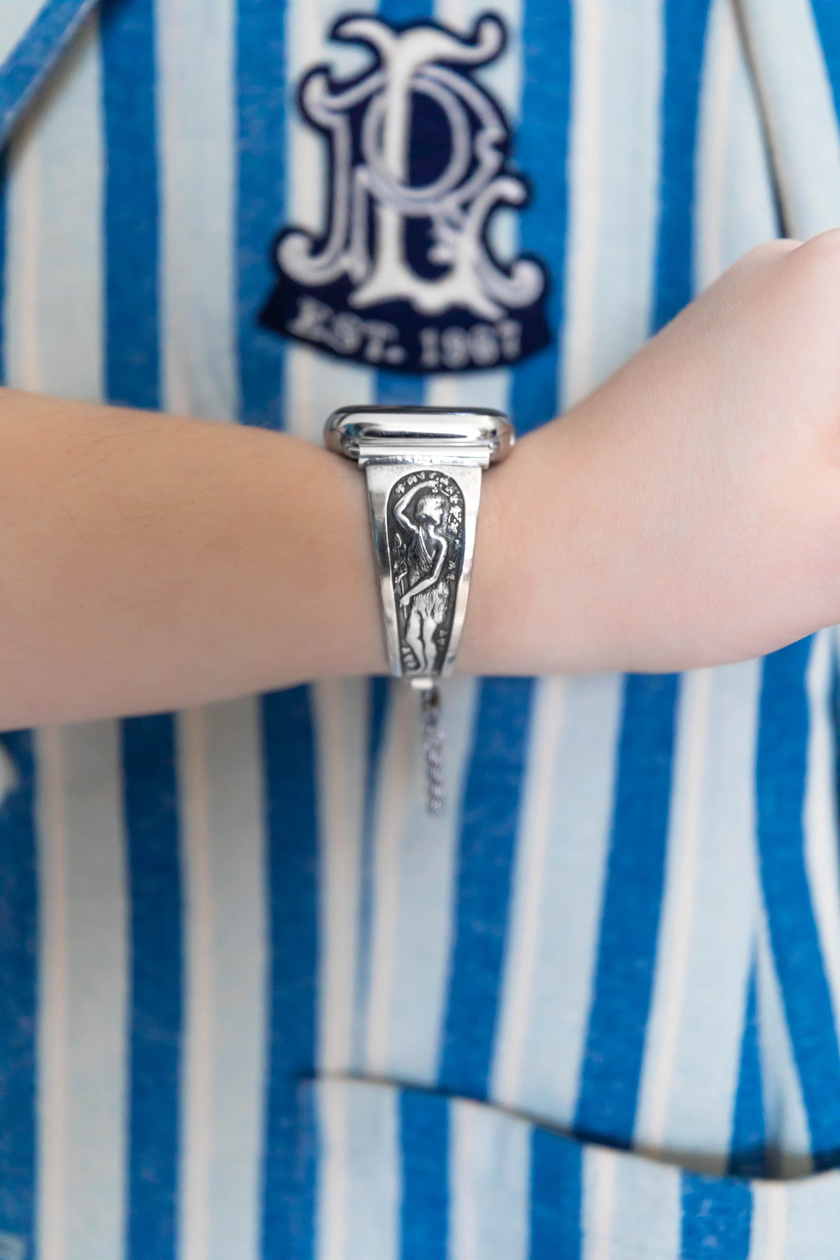 Aphrodite Greek Goddess Sterling Silver Unique Elegant Apple Watch Band with Custom Sizing Styled by Annie Fairfax