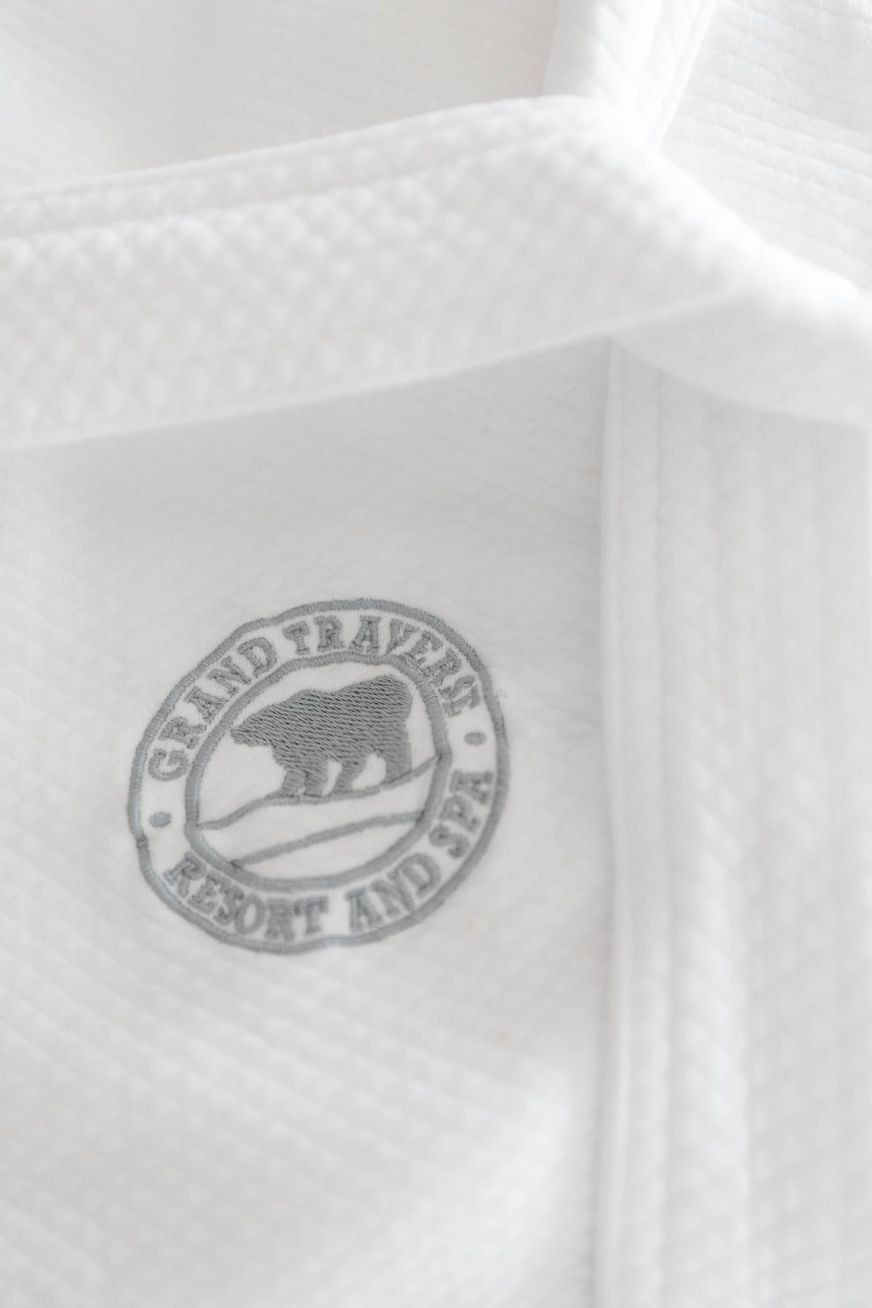 Embroidered Hotel Room Robe Grand Traverse Resort & Spa in Acme Traverse City Michigan Photographed by Annie Fairfax