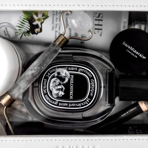 How I Pack My Cosmetics When I Travel Using Truffle Diptyque Perfume Bare Minerals Concealer Biologique Recherche Creme Verte Espoir, Annmarie Cosmetics Resorative Manuka Honey Cleansing Oil Travel Essentials by Annie Fairfax