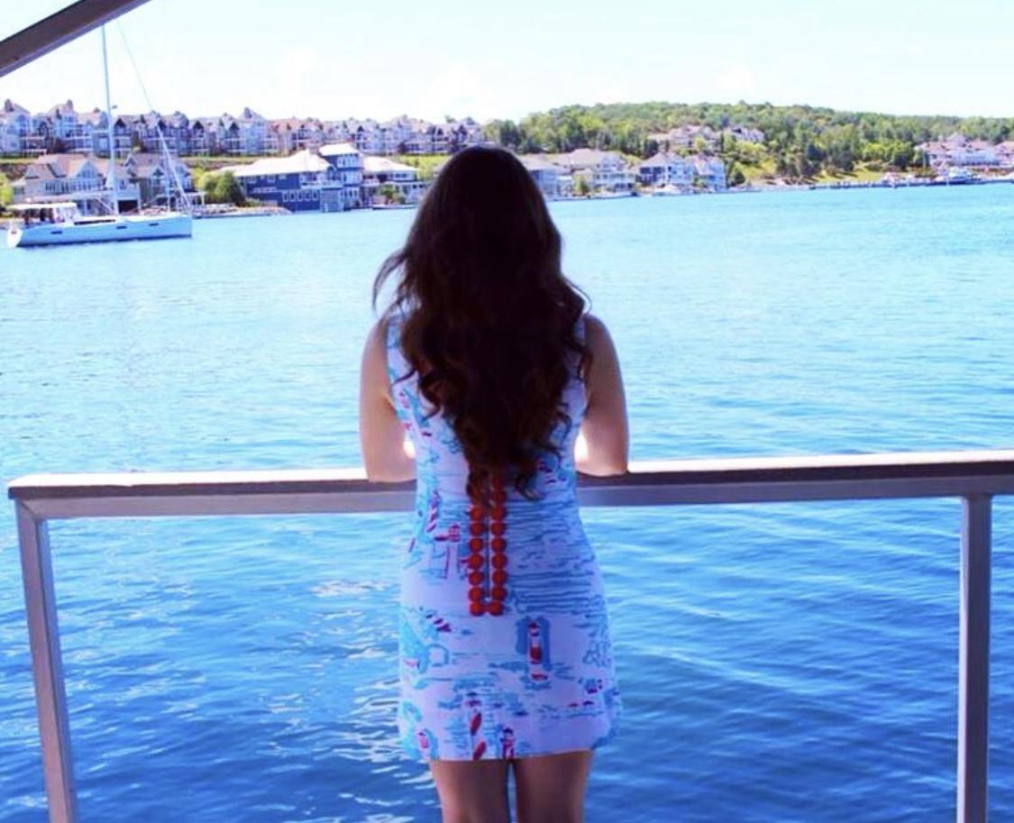 My Favorite Lilly Pulitzer Looks Over The Years You Gotta Regatta Skirt Ralph Lauren Button Up Worn by Annie Fairfax