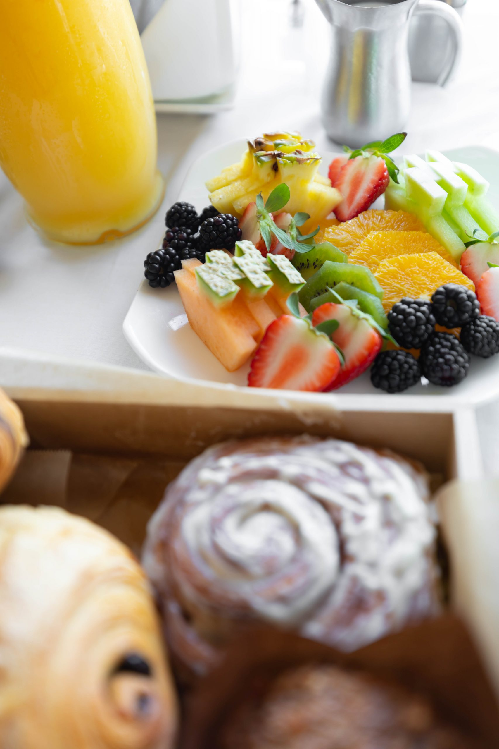 Engagement Celebration at Waldorf Astoria Orlando Fresh Fruit, Pastries, Champagne, and Brunch Room Service by Annie Fairfax