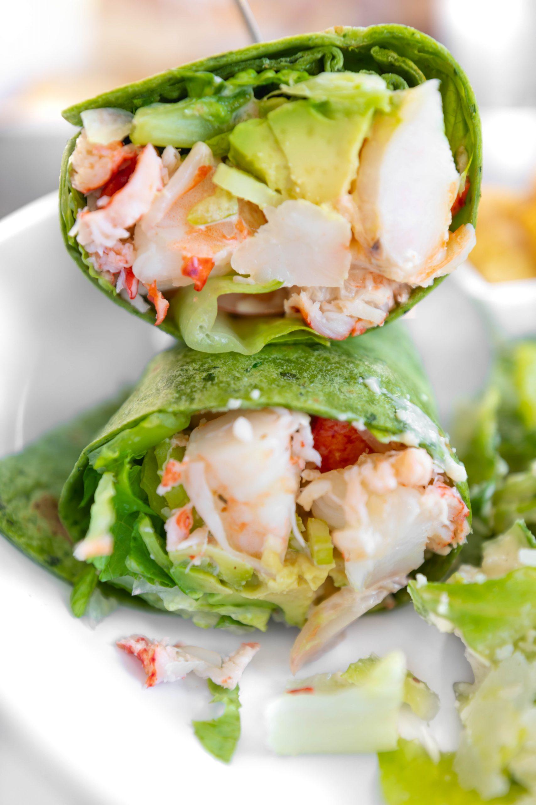 Aquamarine Restaurant Waldorf Astoria Orlando Poolside Restaurant in Orlando Florida Maine Lobster and Golf Shrimp in Spinach Wrap