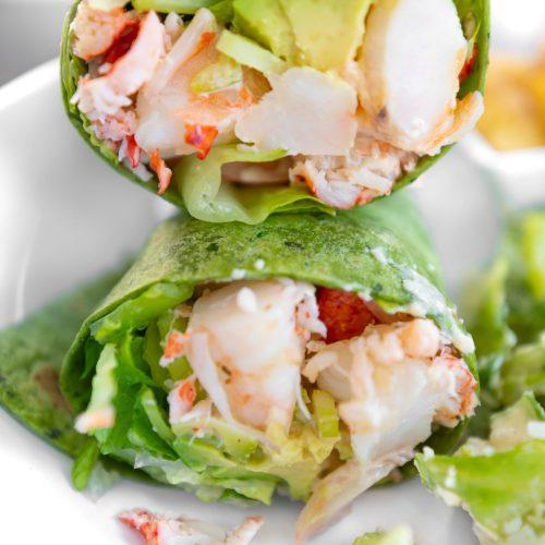 Aquamarine Restaurant Waldorf Astoria Orlando Poolside Restaurant in Orlando Florida by Annie Fairfax Maine Lobster and Golf Shrimp in Spinach Wrap