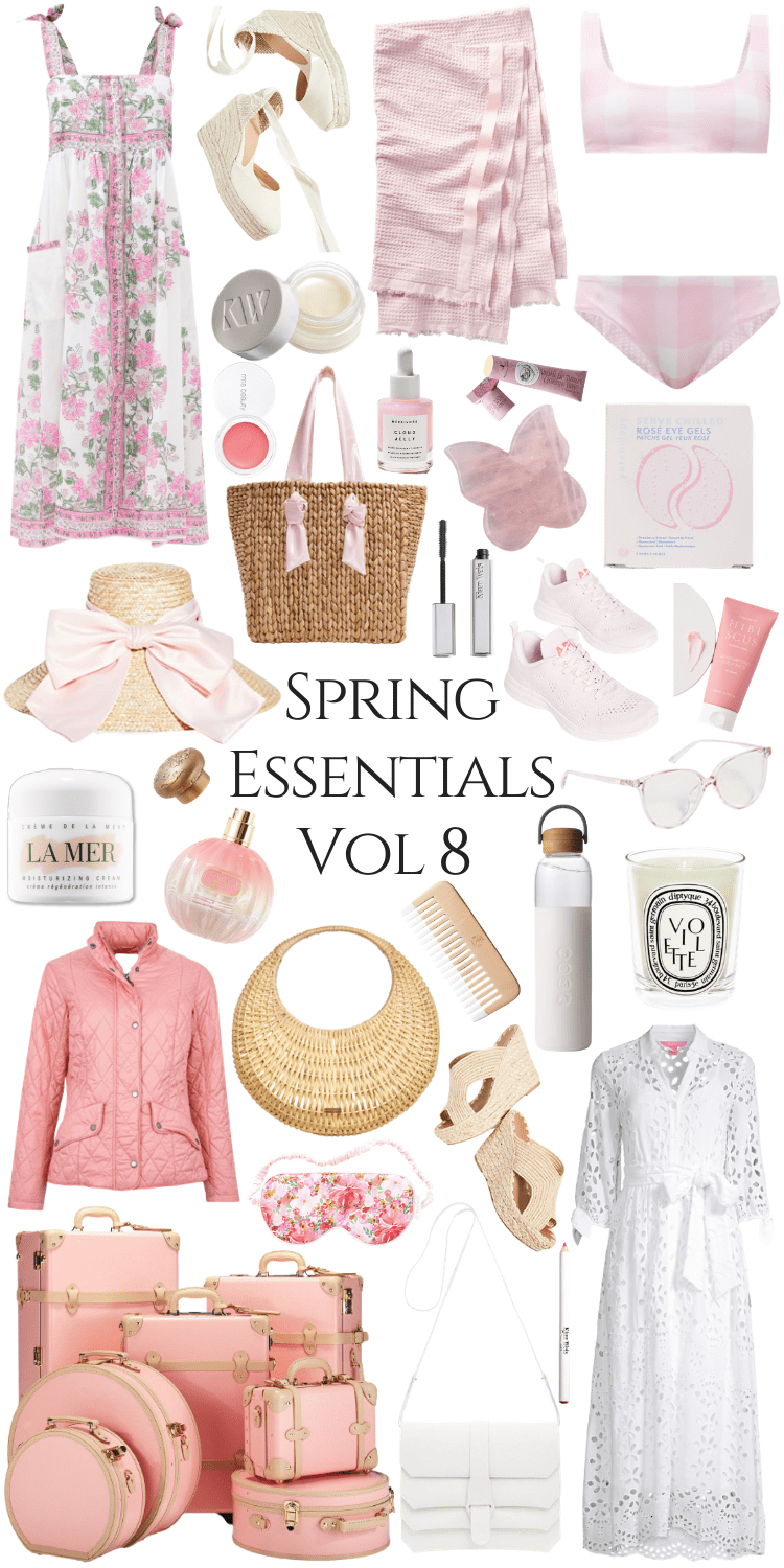 Spring Essentials Volume 8 by Annie Fairfax featuring the Best Spring Styles from Pamela Munson, Juliet Dunn, Senreve, Cult Gaia, Lilly Pulitzer, Eugenia Kim, Athletic Propulsion Labs, Barbour, Carrie Forbes, and More in a Soft Pink Feminine Color Palette Aesthetic