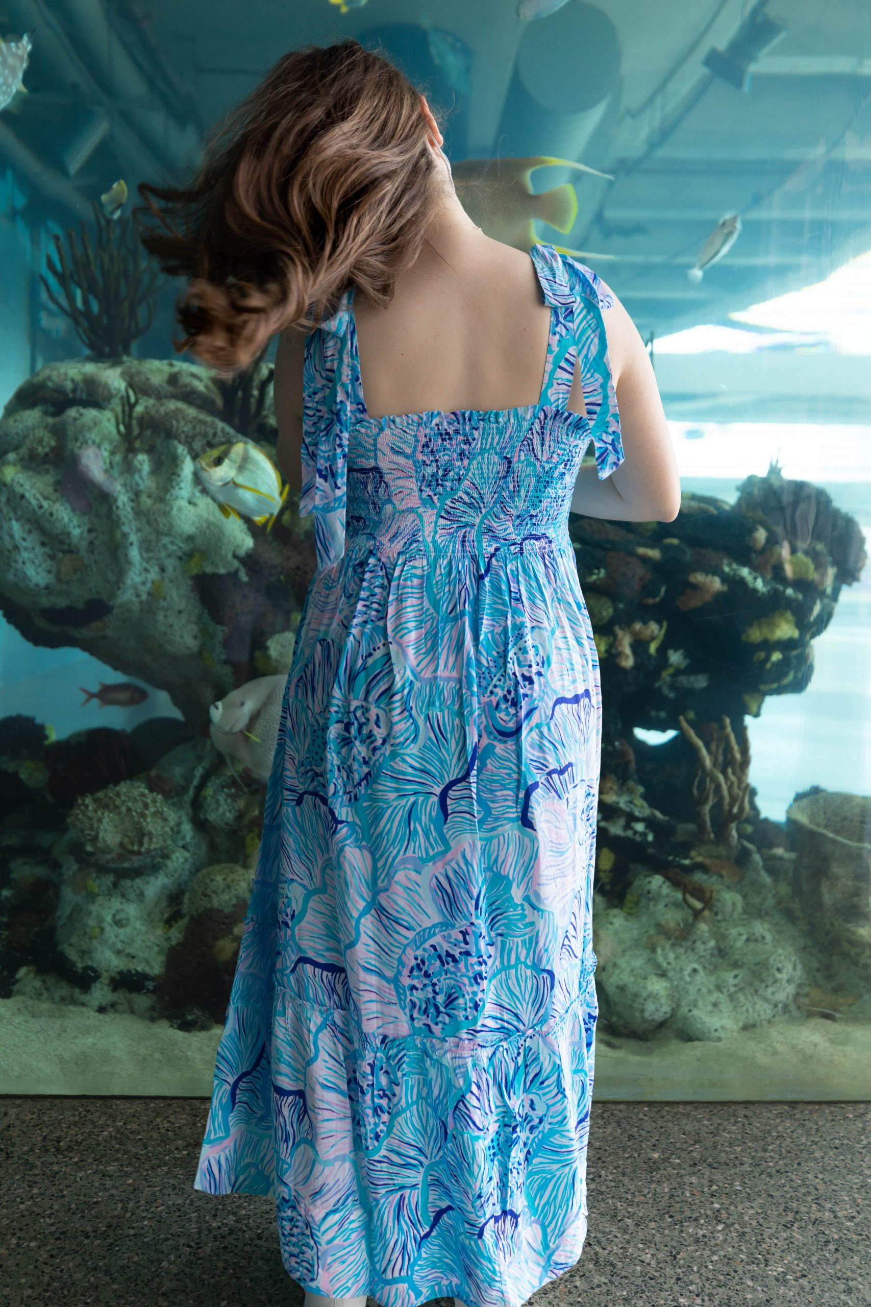 Fishful Thinking Lilly Pulitzer Rivera Dress at The South Carolina Aquarium & Sea Turtle Care Center Photographed by Luxury Travel Writer Annie Fairfax